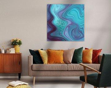 Abstrakte Kunst - Fluid Painting Lila Türkis von Patricia Piotrak
