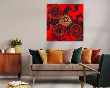 Abstrakte Kunst - Fluid Painting Rote Sünde von Patricia Piotrak