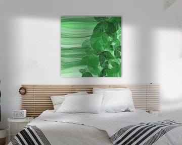 Abstrakte Kunst - Fluid Painting Grüne Blätter von Patricia Piotrak