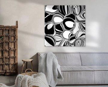 Abstrakte Kunst - Fluid Painting Schwarz Weiß Kreismuster von Patricia Piotrak