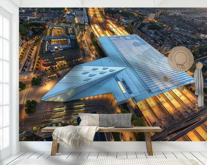 Beispiel fototapete: Der futuristische Hauptbahnhof von Rotterdam bei Nacht von MS Fotografie | Marc van der Stelt