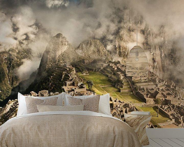 Beispiel fototapete: Machu Picchu, alte Inkastadt, Peru von Frans Lemmens