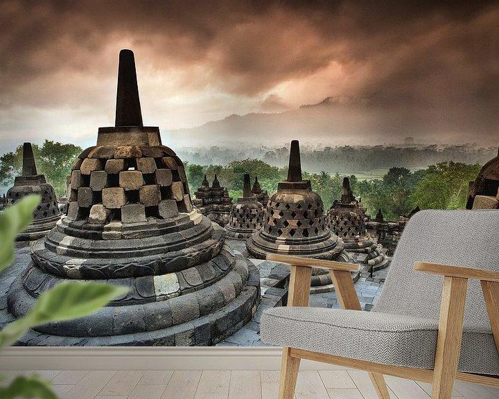 Beispiel fototapete: Borobudur, buddhistischer Tempel bei Yokyakarta, Indonesien von Frans Lemmens