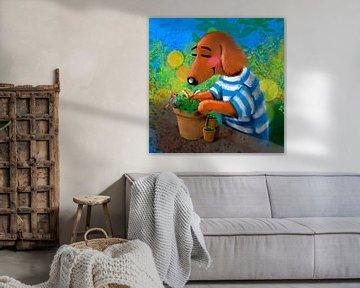 Dackel Tobie liebt Gartenarbeit von Linda van Putten