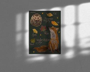 Fuchs und Igel mit Herbstlaubszene von Wies de Ruiter
