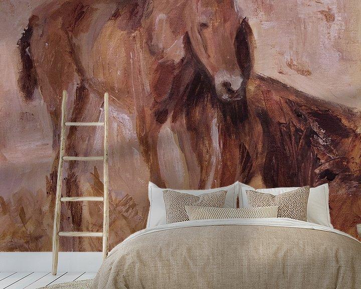 Beispiel fototapete: Fohlen mit Stute von Mieke Daenen