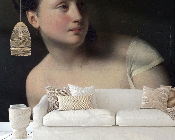 Beispiel fototapete: Junges Mädchen wird überrascht und bedeckt ihre Brüste, Claude-Marie Dubufe von Atelier Liesjes