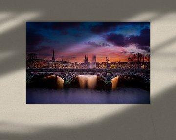Hamburg, Alster, zonsondergang, architectuur, brug van Ingo Boelter