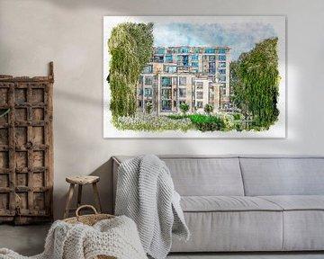 Apartment-Komplex Waterland Roosendaal (Aquarell) von Art by Jeronimo