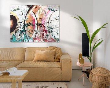 Modern, Abstract Digitaal Kunstwerk in Blauw, Rood, Oranje van Art By Dominic