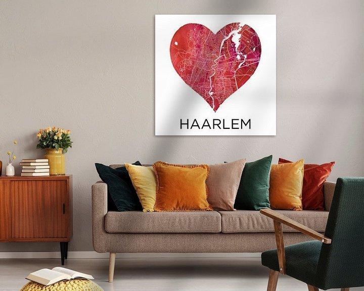 Sfeerimpressie: Liefde voor Haarlem  |  Stadskaart in een hart van Wereldkaarten.Shop