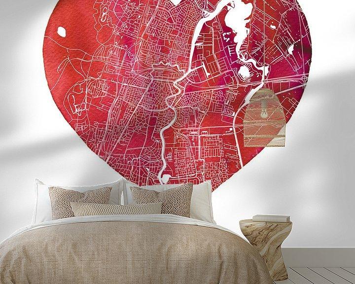 Sfeerimpressie behang: Liefde voor Haarlem  |  Stadskaart in een hart van Wereldkaarten.Shop