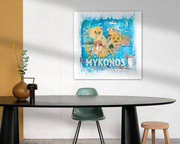Mykonos Griechenland - illustrierte Karte mit den wichtigsten Straßen, Sehenswürdigkeiten und Highli von Markus Bleichner