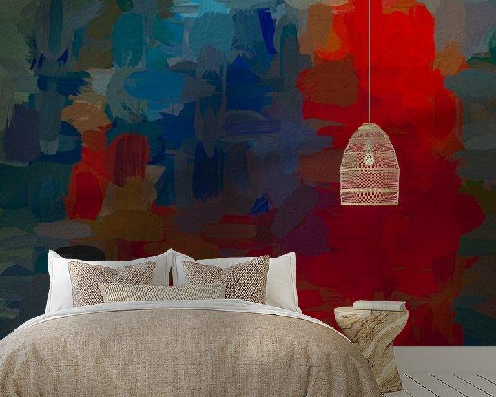 Sfeerimpressie behang: Abstract rood blauw van Leo Luijten