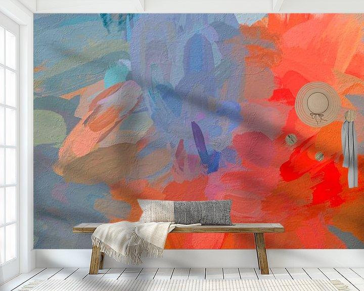 Sfeerimpressie behang: Abstract oranje van Leo Luijten