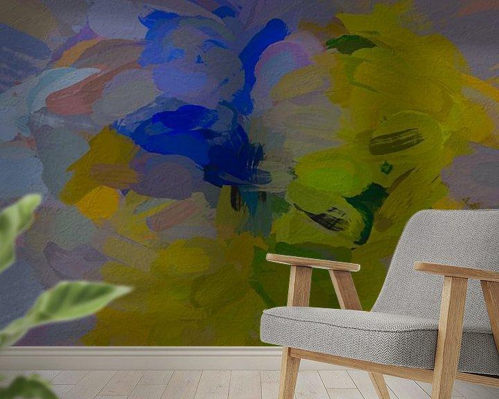 Sfeerimpressie behang: Abstracte narcissen van Leo Luijten