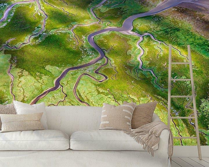 Impression: Photo aérienne d'un marais salant sur Schiermonnikoog sur Frans Lemmens