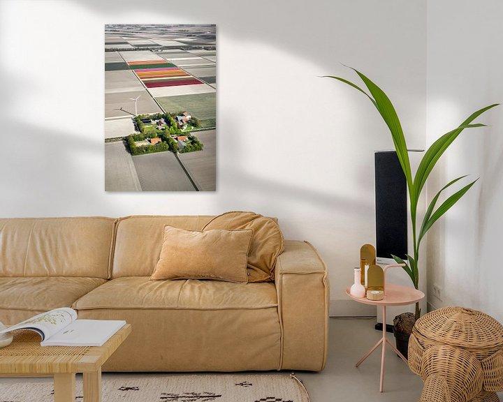 Impression: Photo aérienne des fermes et des champs de tulipes sur Frans Lemmens
