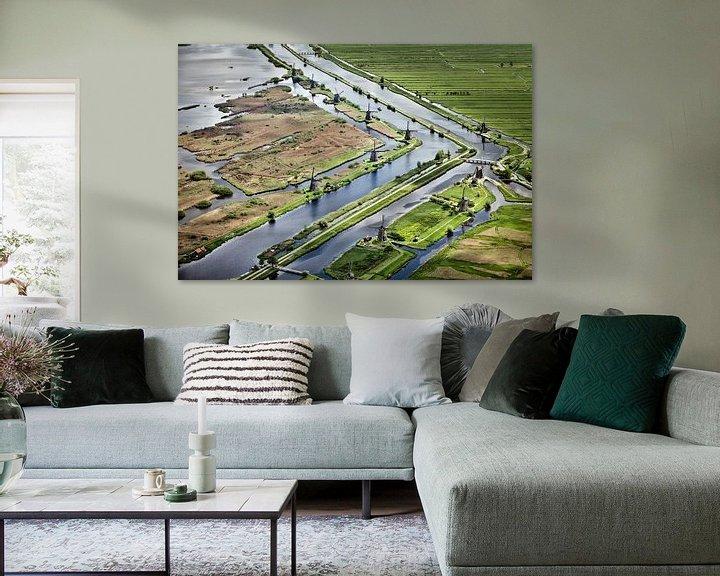 Impression: Photo aérienne des moulins à vent de Kinderdijk sur Frans Lemmens