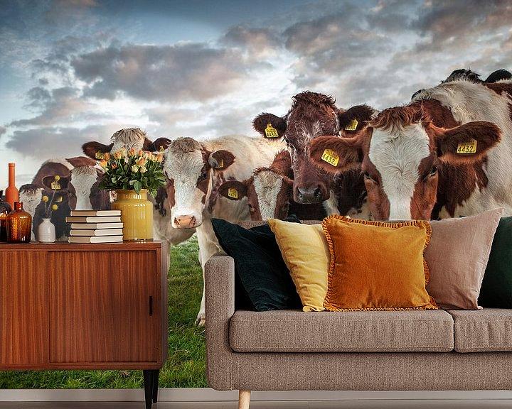 Impression: Sept vaches dans un polder sur Frans Lemmens