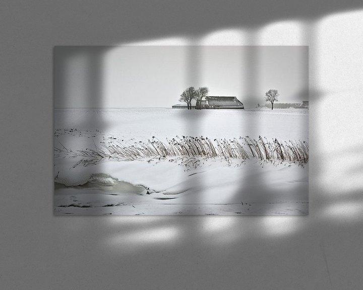 Beispiel: Einsamer Bauernhof im Schnee in Groningen von Frans Lemmens