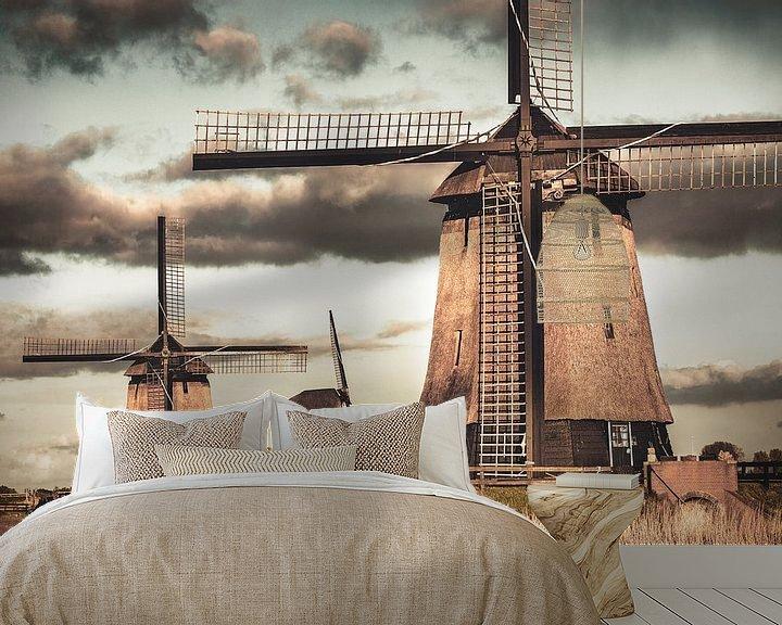 Beispiel fototapete: Mühlen bei Schermerhorn von Frans Lemmens
