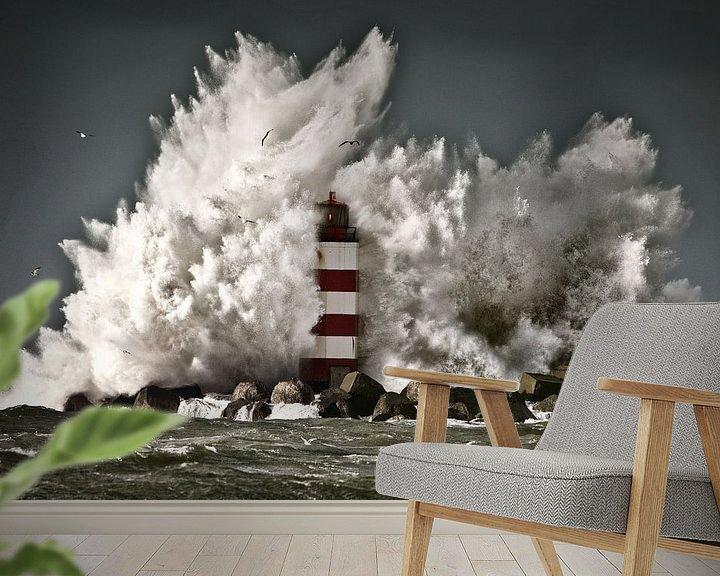 Impression: Les vagues se brisent sur une balise près d'IJmuiden sur Frans Lemmens