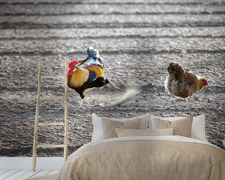 Impression: Poulet et coq à la recherche de quelque chose à manger sur Frans Lemmens