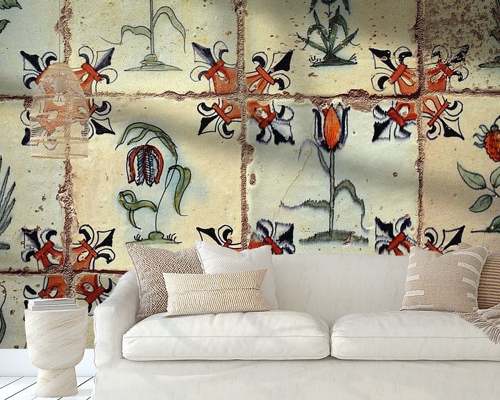 Impression: Faïence de Delft. Tuiles anciennes sur Frans Lemmens