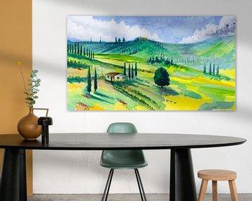 Onder de Toscaanse zon | Aquarel schilderij van WatercolorWall