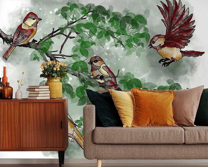 Beispiel fototapete: Vögel auf dem Baumast - Herbstbild von Patricia Piotrak