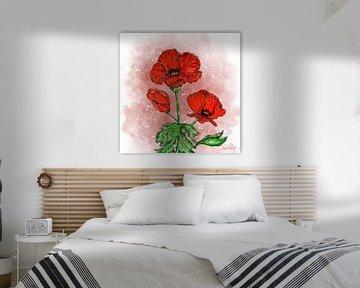 Blumenmotiv - Roter Mohn von Patricia Piotrak