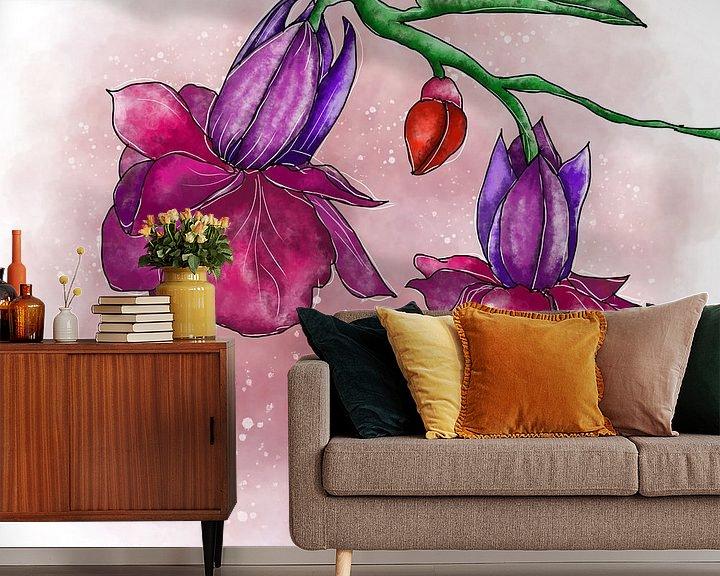 Beispiel fototapete: Blumenmotiv - Lila Fuchsien von Patricia Piotrak