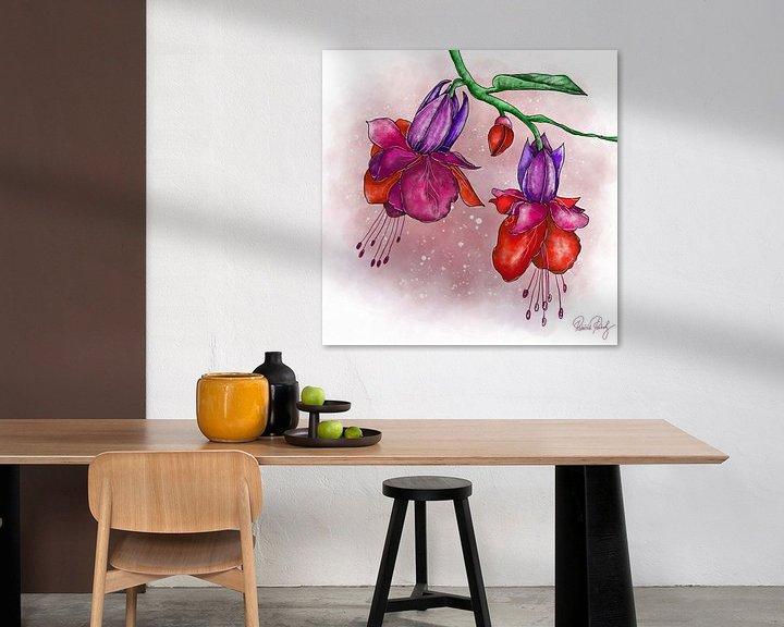 Beispiel: Blumenmotiv - Fuchsia Rot und Lila von Patricia Piotrak
