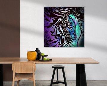 Abstrakte Kunst - Wildes Pferd im Sturm