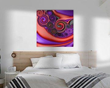 Abstrakte Kunst - Fluid Painting Rot Lila von Patricia Piotrak