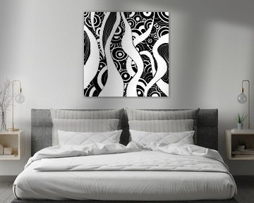 Schwarz Weiß Zentangle - Zendoodle Ozean