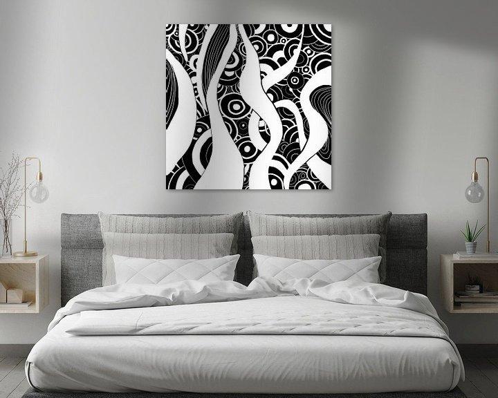 Beispiel: Schwarz Weiß Zentangle - Zendoodle Ozean von Patricia Piotrak