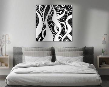 Schwarz Weiß Zentangle - Zendoodle Ozean von Patricia Piotrak