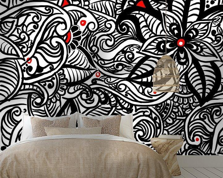 Beispiel fototapete: Schwarz Weiß Zentangle - Zendoodle Blumenmuster von Patricia Piotrak
