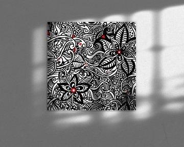 Schwarz Weiß Zentangle - Zendoodle Blumenmuster