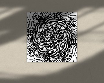 Schwarz Weiß Zentangle - Black Zendoodle Mandala