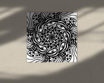Schwarz Weiß Zentangle - Black Zendoodle Mandala von Patricia Piotrak