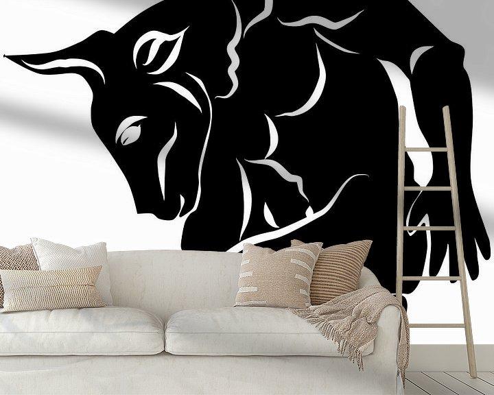 Beispiel fototapete: Schwarz Weiß Bild - Minotaurus von Patricia Piotrak