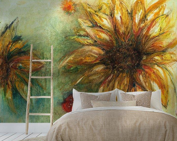 Sfeerimpressie behang: Zonnebloem van Ineke de Rijk