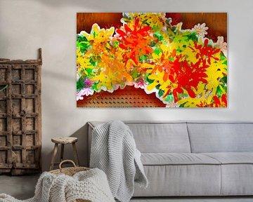 Blumenmotiv - Gelbe und rote Strohblumen