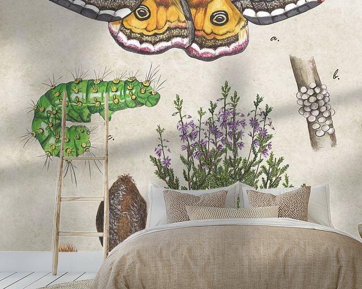 Sfeerimpressie behang: Nachtpauwoog - levenscyclus van Jasper de Ruiter