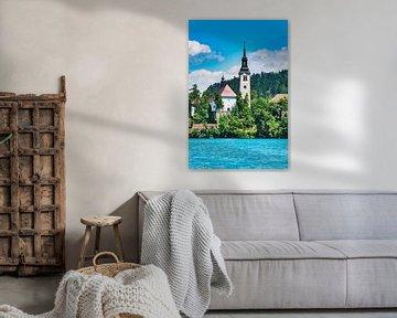 Die Marienkirche im See Bled, Slowenien von Gunter Kirsch