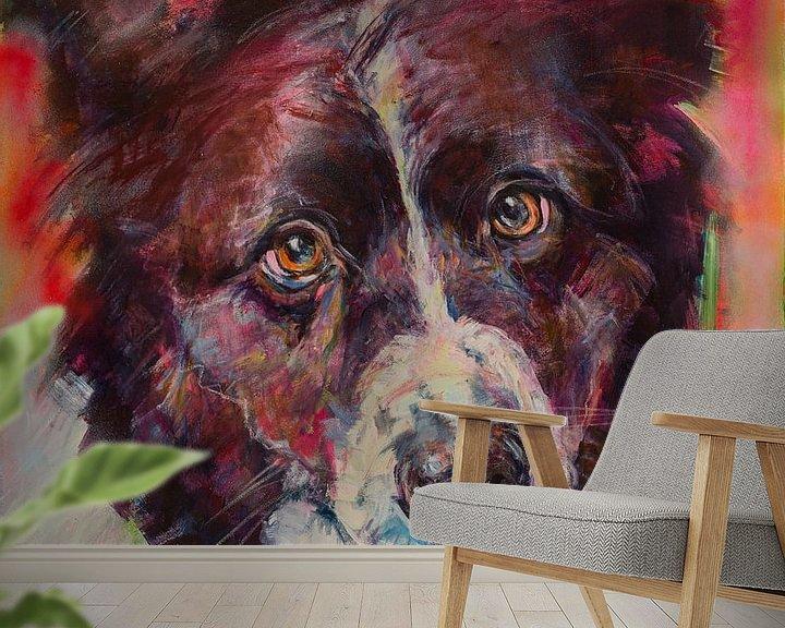 Sfeerimpressie behang: Schilderij van een portret van een hond Border Collie van Liesbeth Serlie
