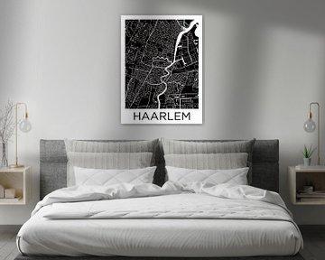 Haarlem Zentrum | Stadtplan Schwarz-Weiß von Wereldkaarten.Shop